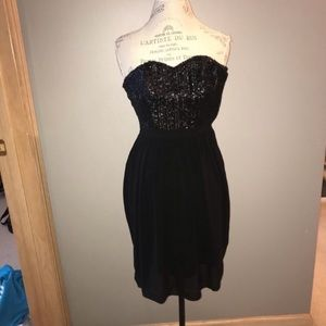 Black Strapless Semi-Formal Dress with Sequins Top